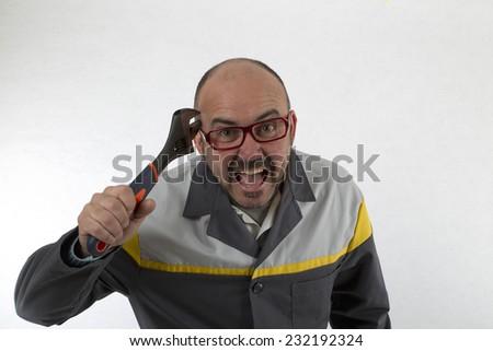 crazy mechanic - stock photo