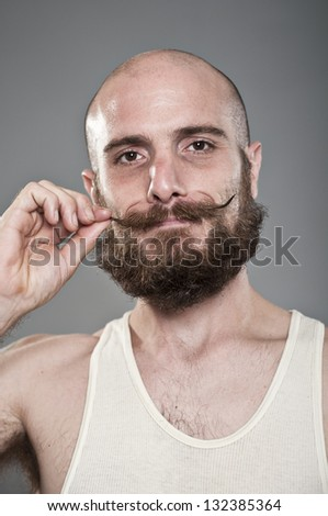 Crazy Mustache Man - stock photo