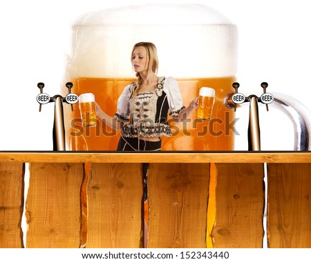 crazy oktoberfest creation with very sexy tiroler girl serving beer at the bar - stock photo