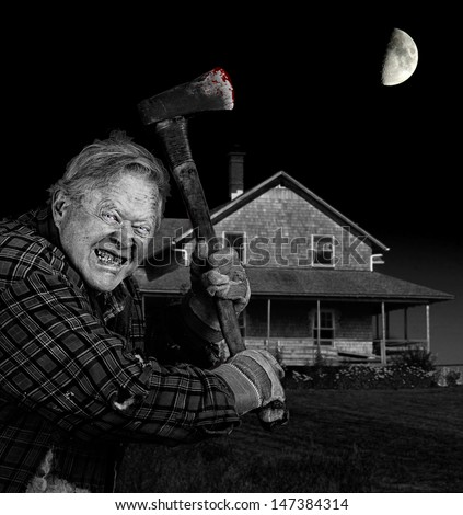 Crazy old man with axe in front of old cedar wood shingle farm house, black and white