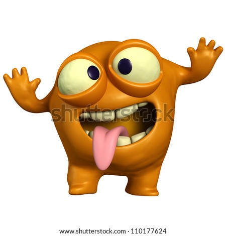 crazy orange monster - stock photo