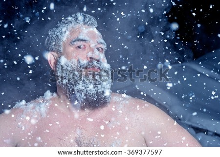Crazy Russian man ran out of the bath in the snow