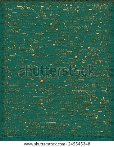 Crazy Sale Gold green metallic 3D background template. - stock photo