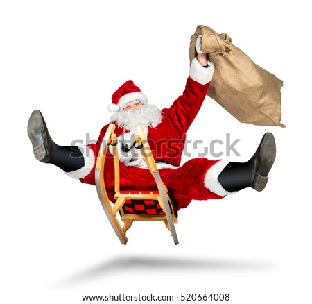 crazy santa claus on his sleigh hilarious fast funny crazy xmas christmas gift present delivery isolated white background