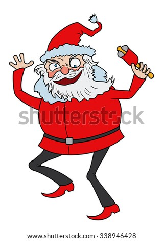 Crazy Santa. Illustration cartoon funny Santa Claus, dancing with a bell. - stock photo