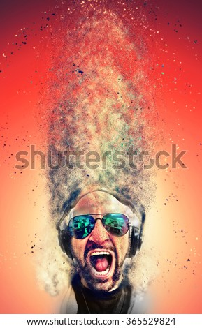 Crazy screaming disc jockey with headphones and a lot of explosion particles flying get over the air! Idea to use as background for party Flyers and club event music posters. - stock photo