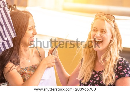 crazy shopping at the mall - stock photo
