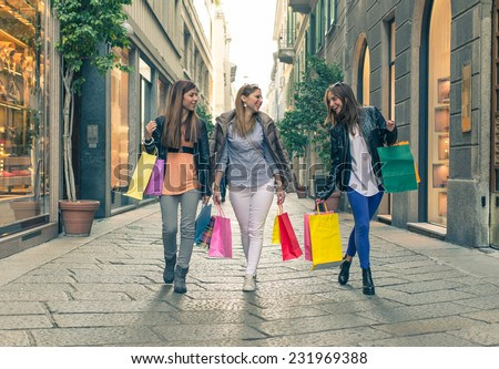 crazy shopping in the center of Milan. industrial concept about shopping - stock photo