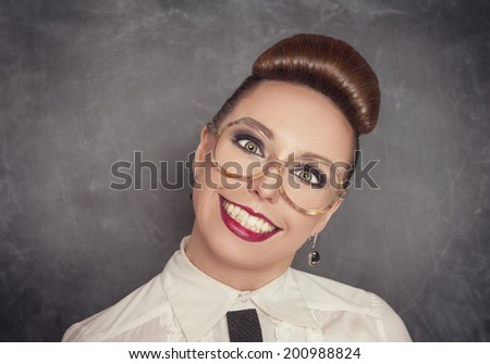Crazy smiling woman in the eyeglasses  - stock photo