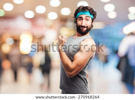crazy sportman  - stock photo
