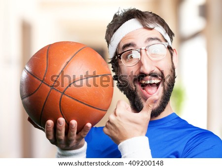 crazy sports man.funny expression - stock photo