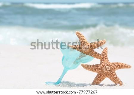 Crazy starfish having fun on beach - stock photo
