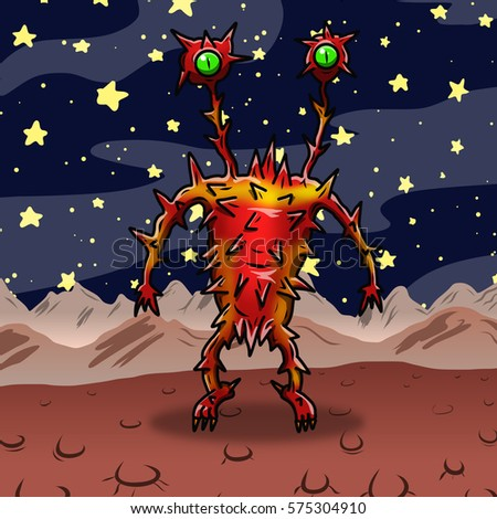 Crazy strange red and spiky space alien or monster on an alien planet
