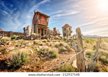 crazy western town - stock photo