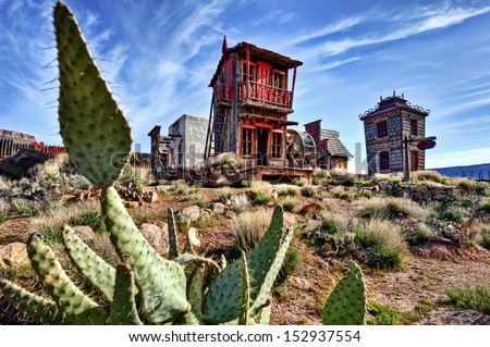 crazy western town 02 - stock photo