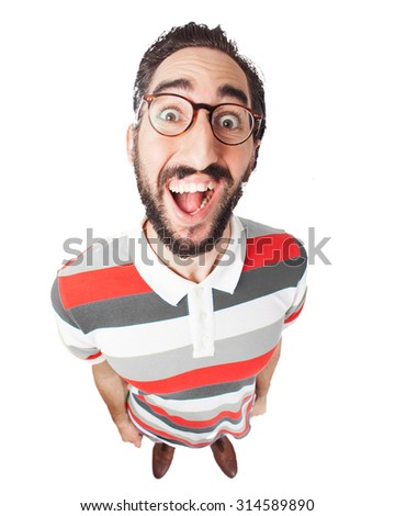 crazy young man surprised - stock photo