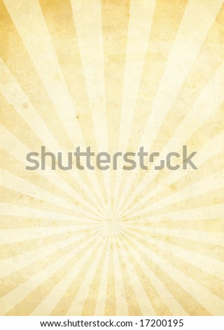 Cream and yellow radiating background with a weathered look - stock photo