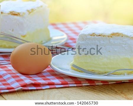 Cream cake - Cream pie - stock photo