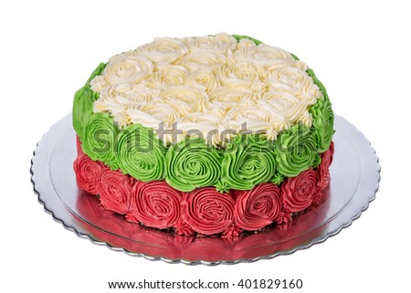 Cream cake with roses flowers. The colors of the Bulgarian ensign.