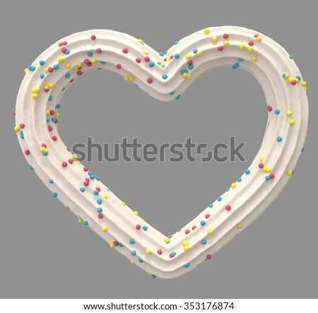Cream candy heart symbol - stock photo