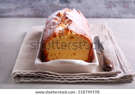 Cream cheese pound cake with icing sugar