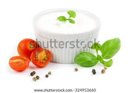 cream cheese with herbs and tomatoes isolated - stock photo
