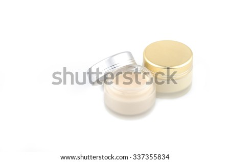Cream container isolated on white background-Collection of skincare spa products, Beauty concept - stock photo