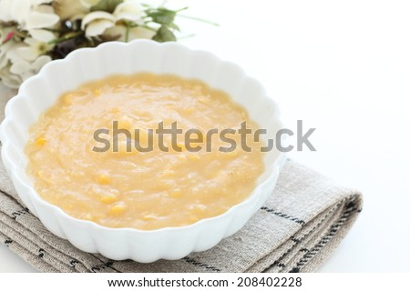 Cream corn from canned food - stock photo