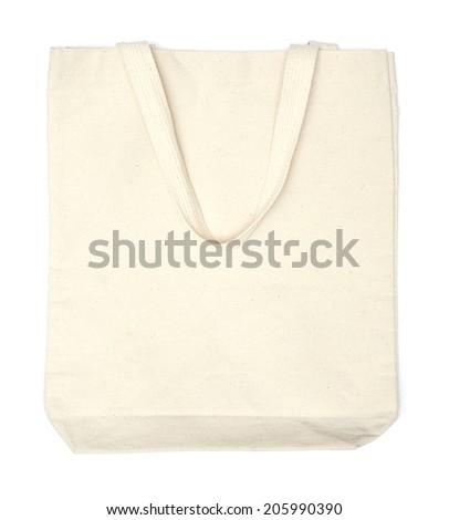 cream cotton eco bag on white background - stock photo