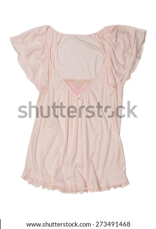 Cream Lingerie blouse with lace. Isolate on white. - stock photo