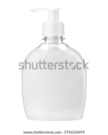 Cream liquid soap / studio photography of transparent bottle with white liquid - isolated on white background - stock photo
