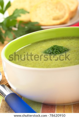 Cream of broccoli garnished with a broccoli floret on top with baguette slices and parsley leaves in the back (Selective Focus, Focus on the broccoli floret on the soup)