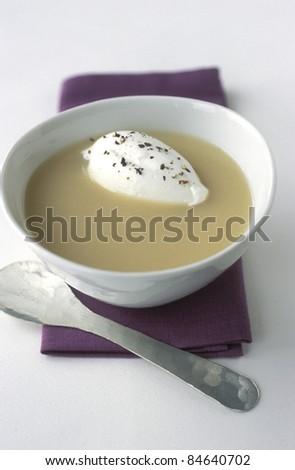 Cream of celeriac soup - stock photo