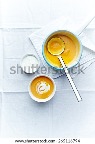 Cream of pumpkin soup with cream cheese - stock photo