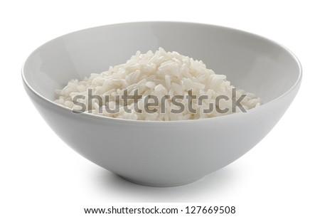 Cream of rise in the white ceramic bowl - stock photo