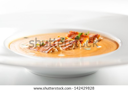 Cream of Vegetables Soup with Salmon - stock photo