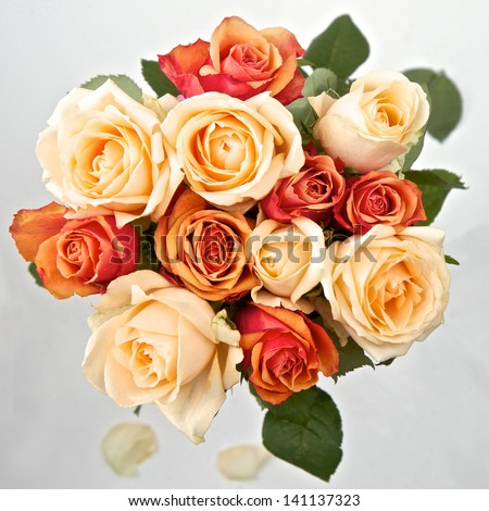 Cream orange and peach roses in a bunch