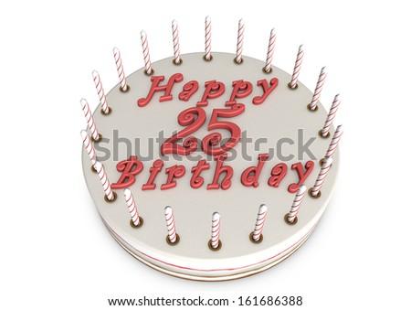 cream pie with Happy Birthday and the age - stock photo