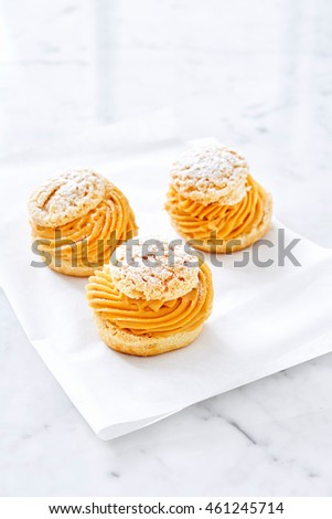Cream Puff Pastry with cream and caramel