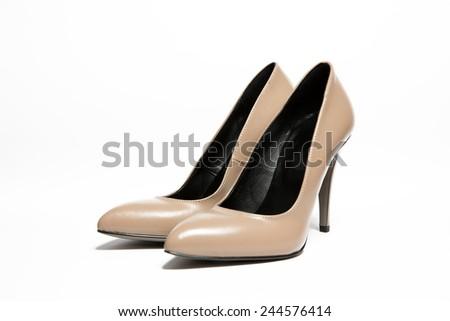 Cream pumps shoes - stock photo