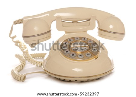 Cream retro telephone studio cutout