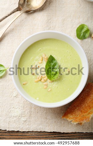 Cream soup with cheese top view, food