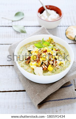 cream soup with zucchini, food closeup