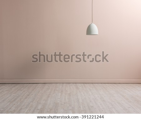 cream wall empty interior decoration lamp and wooden floor concept
