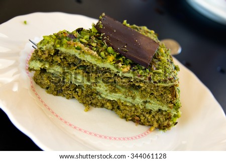 Cream with Pistachios, Cassata or Cassata siciliana is a traditional sweet from the areas of Palermo, Catania and Messina,Sicily, Italy