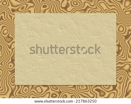 Creamy beige crumpled paper on a brown wood surface with the beautiful naturally looking pattern, computer generated 3D background.