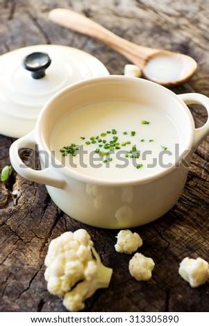 Creamy cauliflower soup  - stock photo