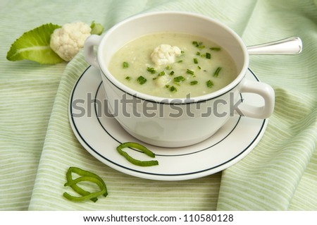 Creamy cauliflower soup with fresh chives