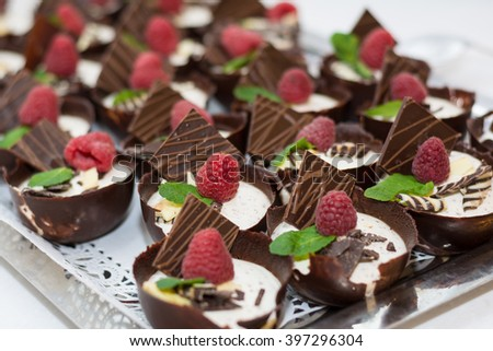 creamy chocolate and raspberry dessert garnished - stock photo