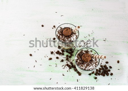 Creamy Coffee cocktail in glasses, copy space.  Chocolate cocktail. Chocolate drink. Cocoa cocktail. Cocoa drink. Coffee cocktail. Chocolate dessert. Coffee dessert - stock photo